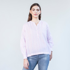 Raspberry stripe balloon sleeve top