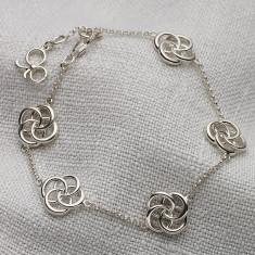Ladies Sterling Silver Five Love Knot Bracelet