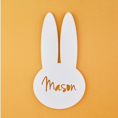 Monochrome Acrylic Personalised Kids' Bunny Rabbit Bedroom Door Sign