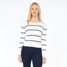Boat Stripe Cream & Black Cotton Ribbed Knit