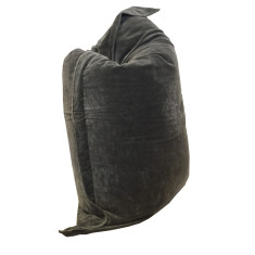 Velvet Rectangle Beanbag in Charcoal Grey