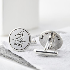 Personalised Silver Handwriting Signature Cufflinks