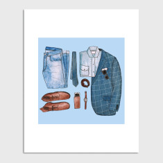 Menswear Fashion Flat Lay Watercolour Illustration Art Print
