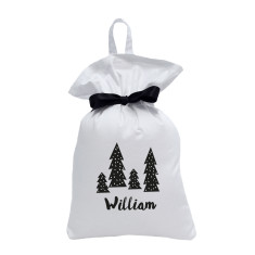Personalised Christmas Santa Sack - Monochrome Trees Design
