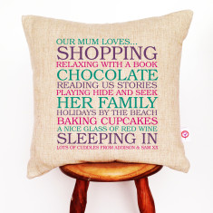 Mum's list of loves personalised cushion cover