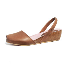 Cardona leather wedge sandals in chestnut