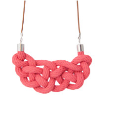 Celtic knot necklace in raspberry