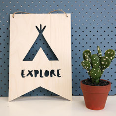 Explore wooden wall plaque