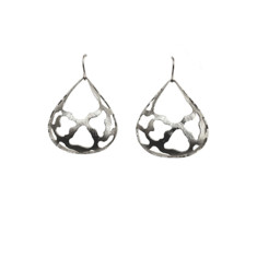 Extra wide large teardrop earrings (silver)