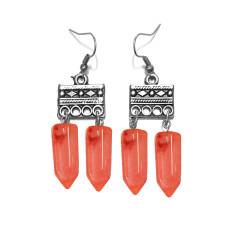Cherry gemstone tribal drop earrings