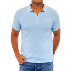 Classic light blue men's polo with zipper