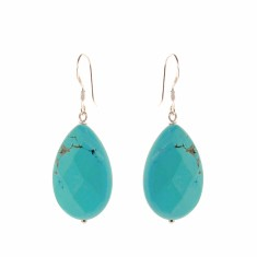 Sterling silver & dyed blue magnesite faceted flat drop earrings