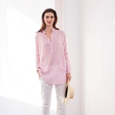 Raspberry stripe long shirt