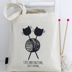 Cats and knitting just saying knitting project bag