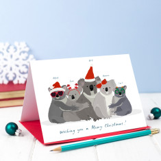 Set of 5 Personalised Christmas Koala Cards