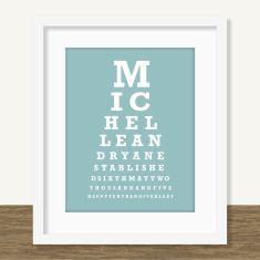 Personalised eye chart for a happy couple (own colour)