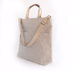 Stone grey tote in luxe Italian washable paper