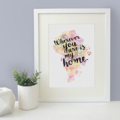 Wherever you are is my home watercolour map blot print