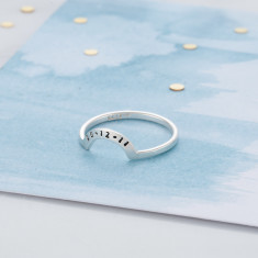 Personalised Crescent Eclipse Ring