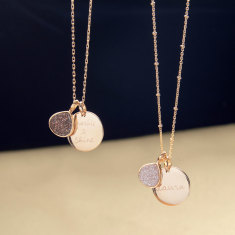 Personalised Sparkling Gemstone & Disc Necklace (Limited Edition Christmas)