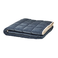Grey Velvet Quilted Bed Throw