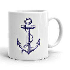 Vintage style anchor coffee mug