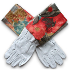 Washable leather gardening gloves in Watercolour Odyssey