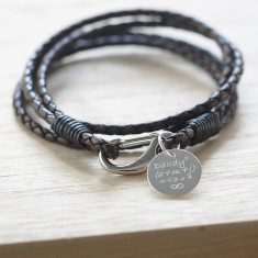 Daddy/Dad Equation Leather Wrap Wristband