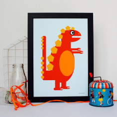 Little Orange Dinosaur Nursery Print