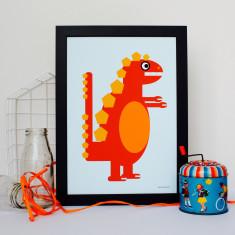 Little Orange Dinosaur Nursery Print