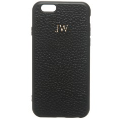 Monogrammed Leather iPhone Cover - Black w/ Gold Emboss
