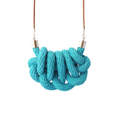 Beachcomber knot necklace in teal
