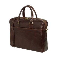Tokyo leather messenger and laptop bag in Chocolate
