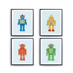 Kids robot prints (set of 4)