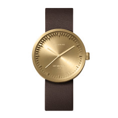 Leff Amsterdam tube watch D38 with brown leather strap brass finish