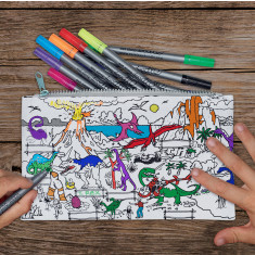 Dinosaur colour in pencil case with wash-out pens