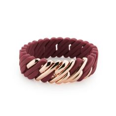 Woven pixel bracelet in cordovan red and rose gold