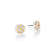 Gold polka dot porcelain stud in white