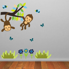Monkeys On Branch Wall Sticker