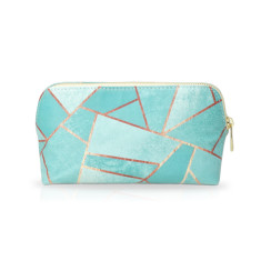 Geometric Make Up Bag Or Pencil case in Duck Egg Green