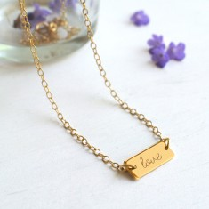 Personalised Gold Mini Bar Love Necklace