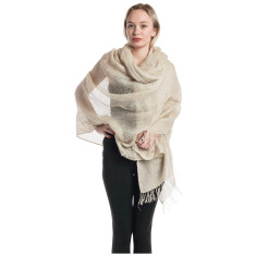 Hand crafted light linen mesh shawl in bone colour