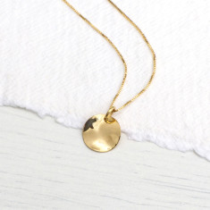 Hammered Disc Pendant in 18ct Yellow Gold