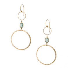 Hammered fine brass and vintage lucite double hoop earrings