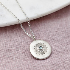 Personalised Sterling Silver And Aquamarine Necklace
