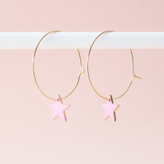 Cotton candy enamel star hoops