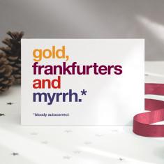 Funny Frankfurters autocorrect Christmas card