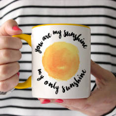 Personalised You Are My Sunshine Two Tone Mug