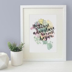 Your Greatest Adventure Has Just Begun Watercolour Map Blot Print