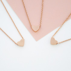 Personalised will you be my bridesmaid or maid of honour heart necklace in rose gold